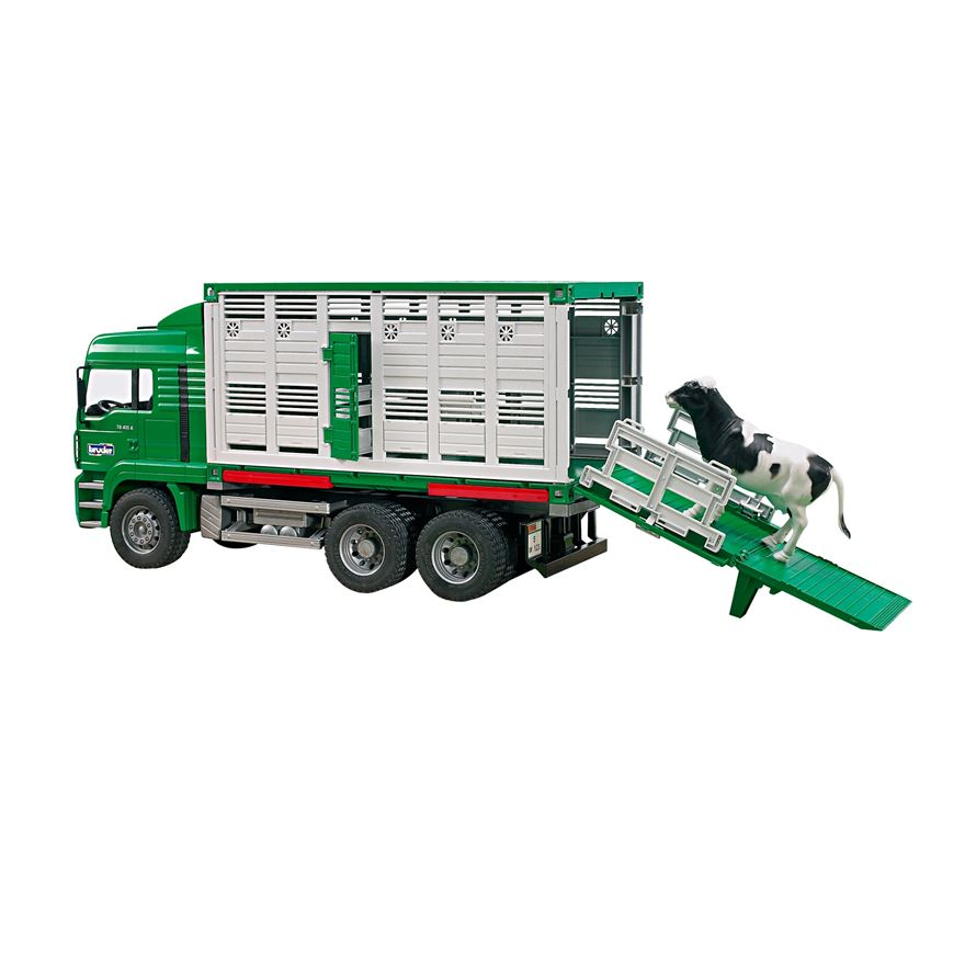 Bruder 1:16 Man Cattle Transporter With Cow image-0