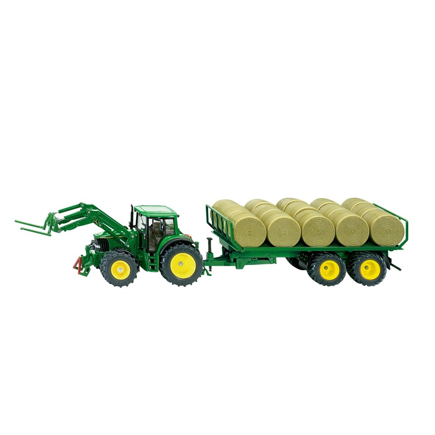 1:32 Siku John Deere Tractor and Bale Trailer
