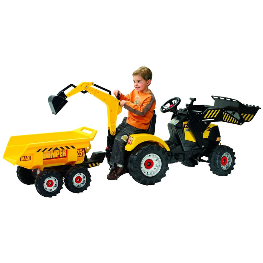 Power Loader Tractor with Front Loader, Backhoe and Trailer image-0