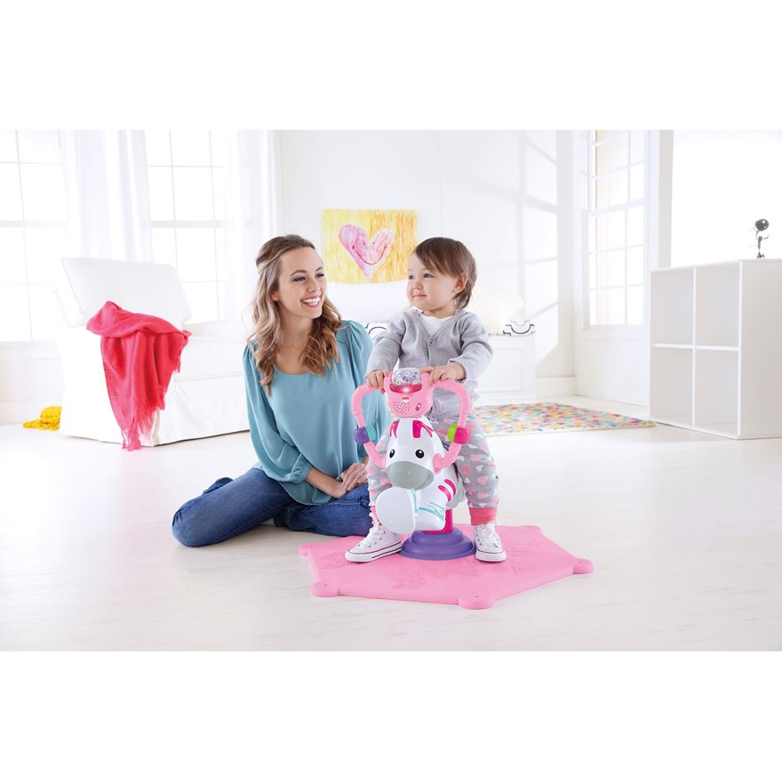 Fisher Price Bounce and Spin Zebra Pink image-0