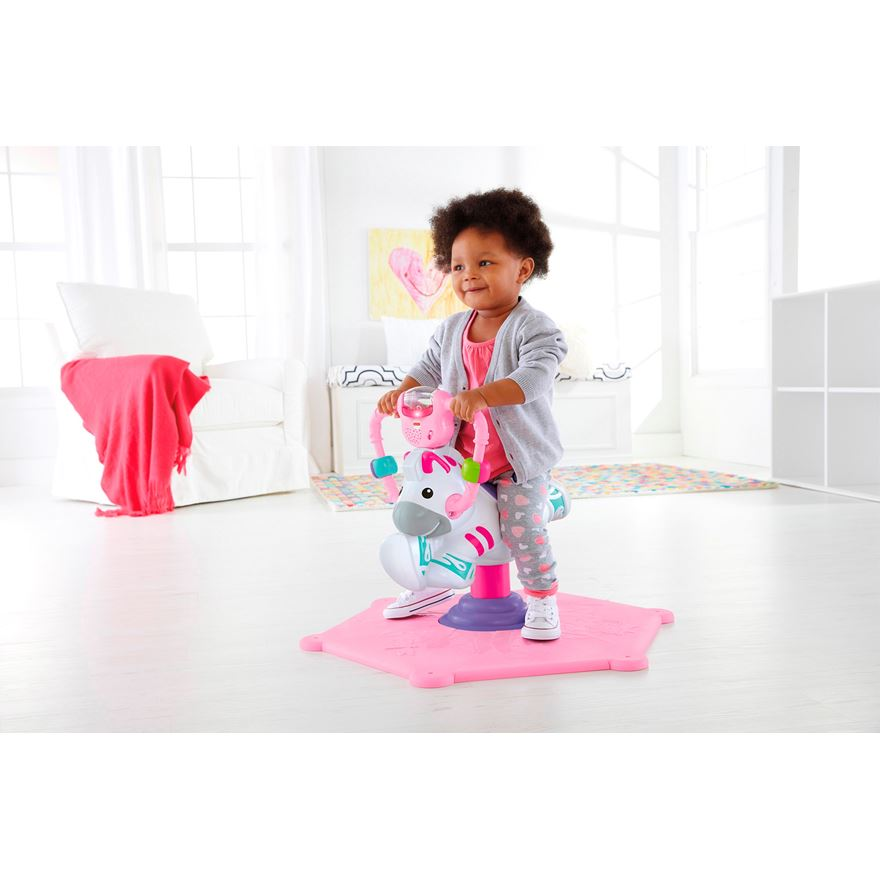 Fisher Price Bounce and Spin Zebra Pink image-1