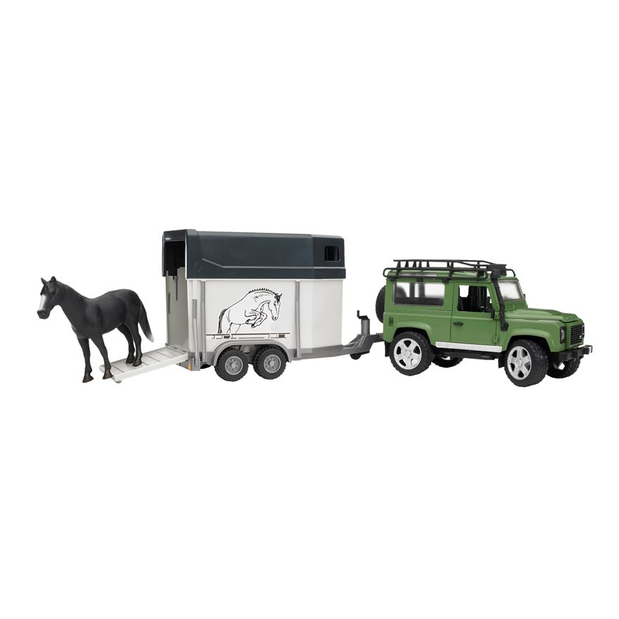 Bruder 1:16 Land Rover Defender With Horse Trailer image-0