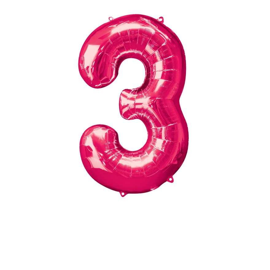 Super Shape Number 3 Pink Foil Balloon
