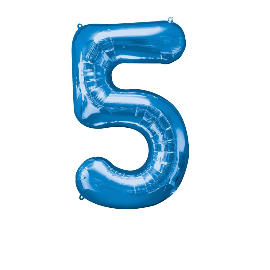 Super Shape Number 5 Blue Foil Balloon