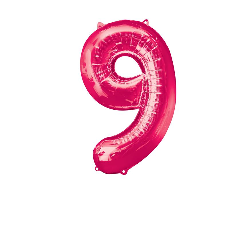 Super Shape Number 9 Pink Foil Balloon