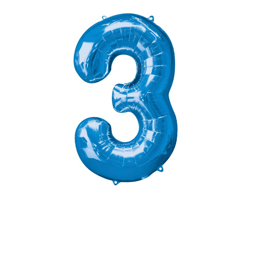 Super Shape Number 3 Blue Foil Balloon