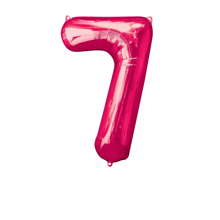 Super Shape Number 7 Pink Foil Balloon