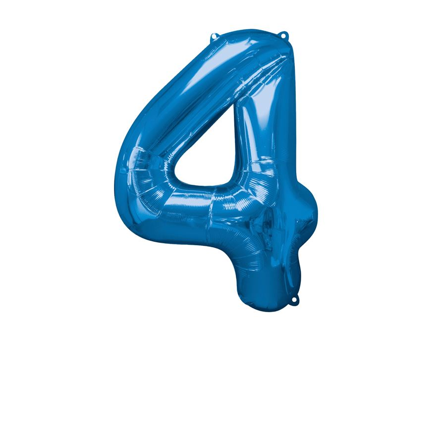 Super Shape Number 4 Blue Foil Balloon