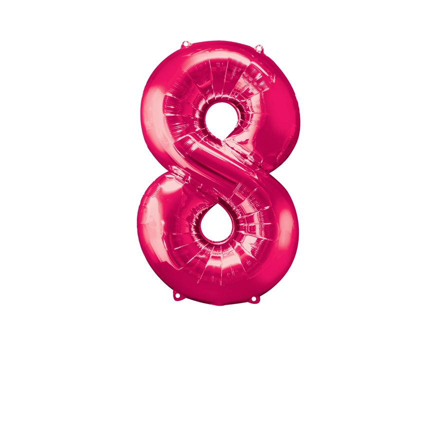 Super Shape Number 8 Pink Foil Balloon
