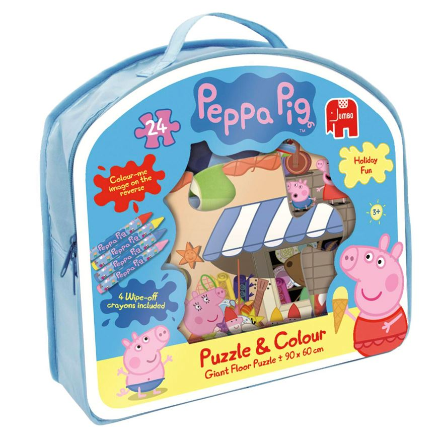 Peppa Pig 24 Piece Giant Puzzle & Colour Jigsaw image-0