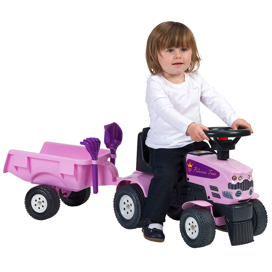 Princess Baby Sit N Ride Tractor and Trailer image-0