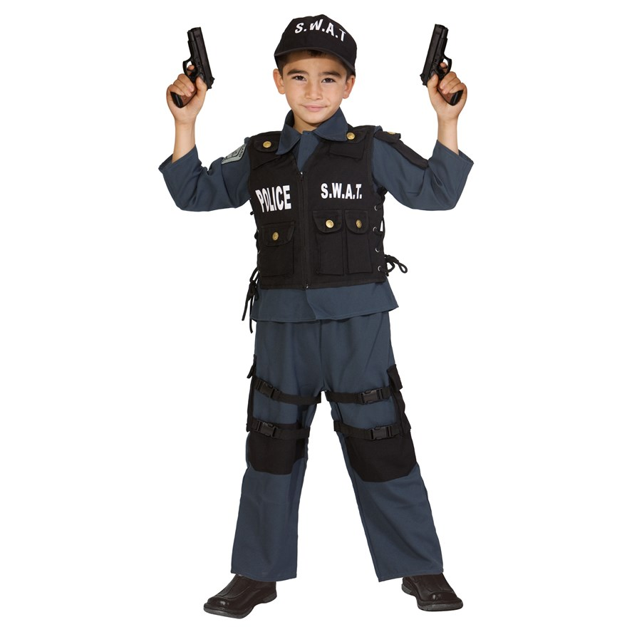 Deluxe S.W.A.T Police Officer Medium Costume image-0