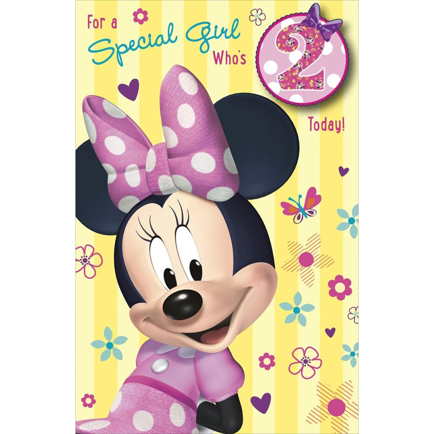 Minnie Mouse 2nd Birthday Card - Partyware UK