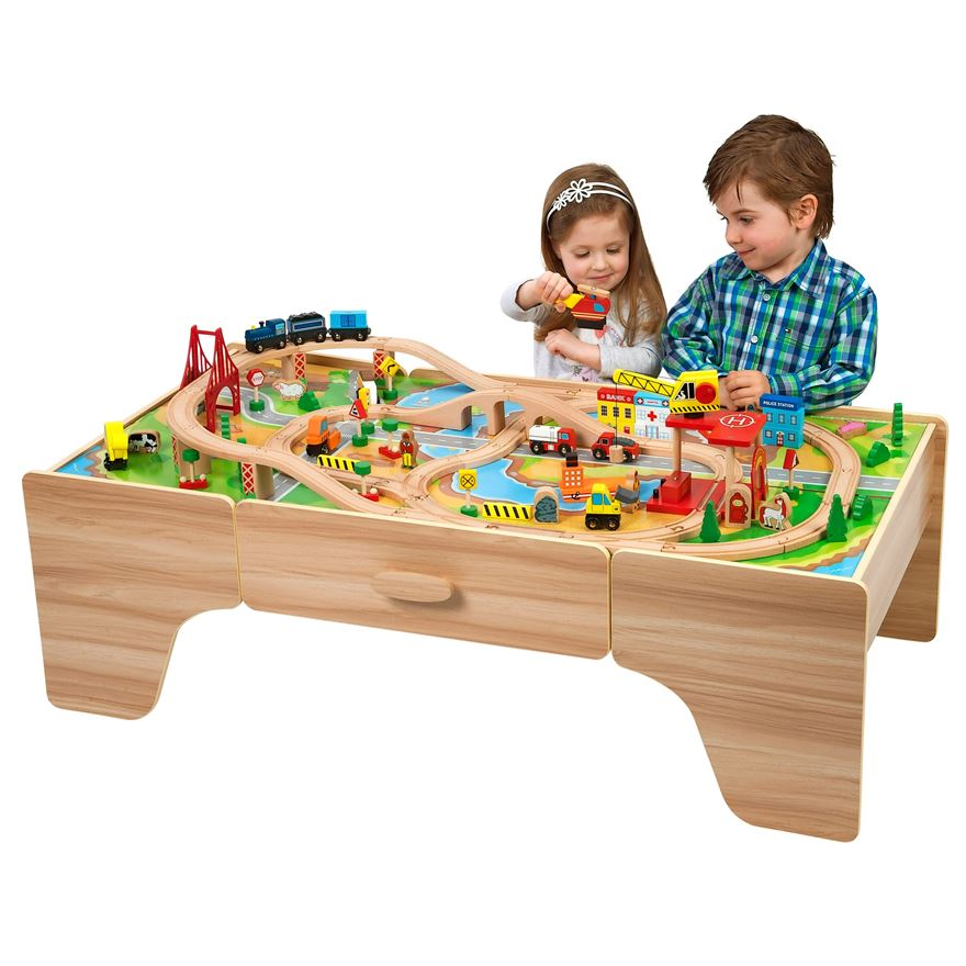 100 Piece Wooden Train Set with Table image-0