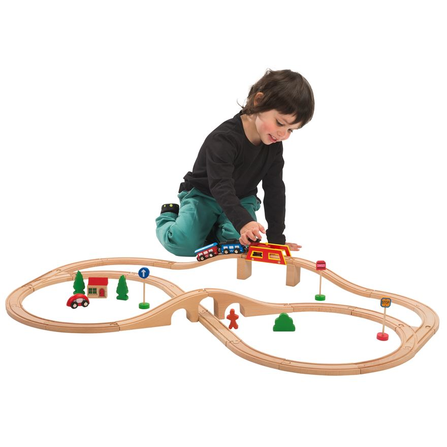 40 Piece Wooden Train Set image-0
