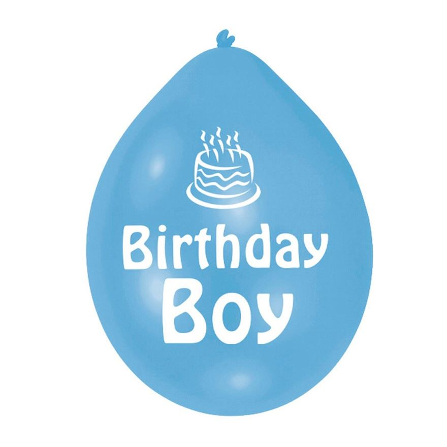 Blue Birthday Boy Balloon 10 Pack