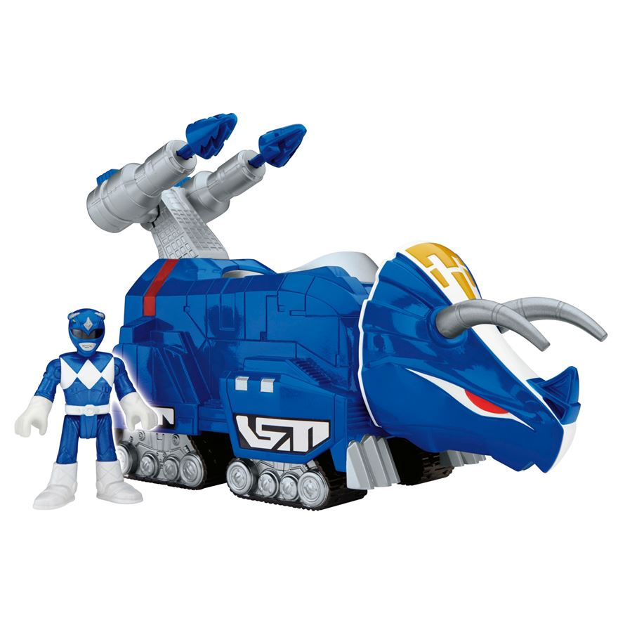Imaginext Power Rangers Blue Ranger and Triceratops image-0
