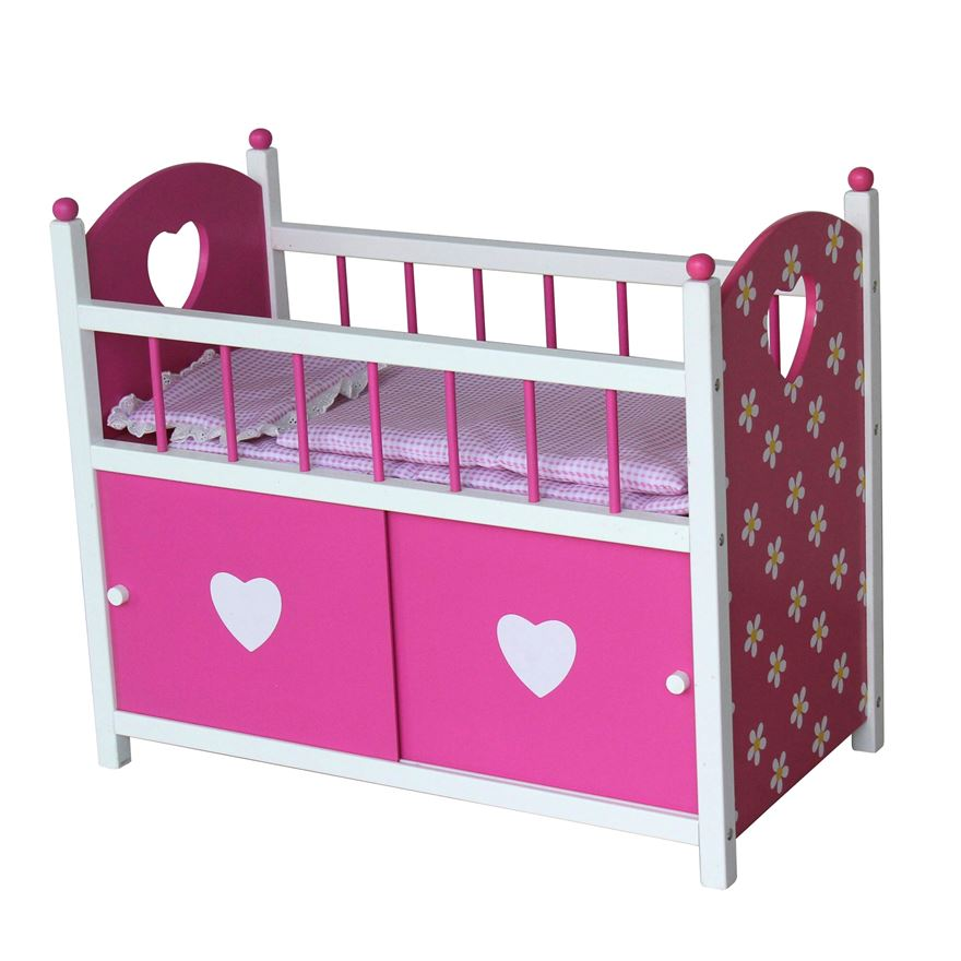 Dolls Wooden Cot with Door image-0