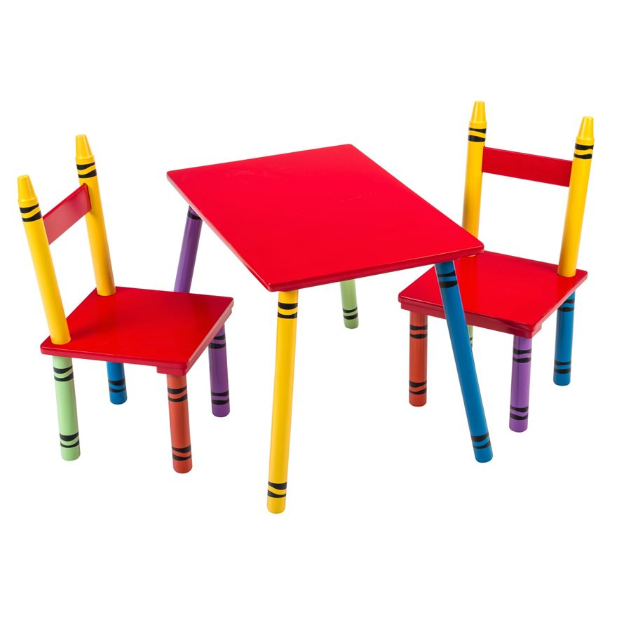 Wooden Crayon Shaped Table and Chairs image-0