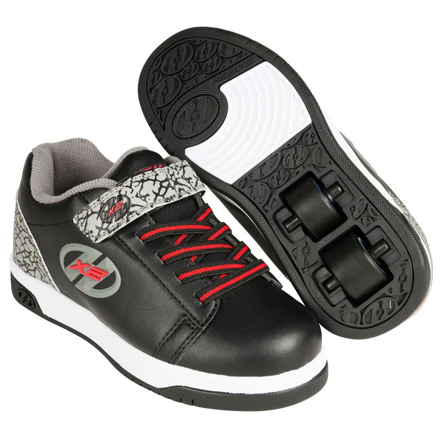 Dual Up X2 Heelys, Black/Grey/Elephant Size 13