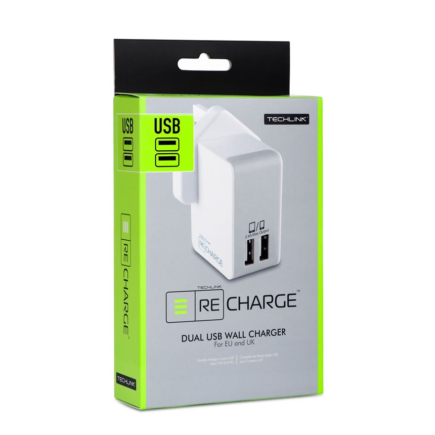 Techlink Twin Quick Tablet/Phone Charger 2.4amp