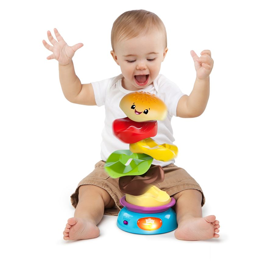Bright Starts Giggling Gourmet Stack 'n Spin Burger Toy image-0