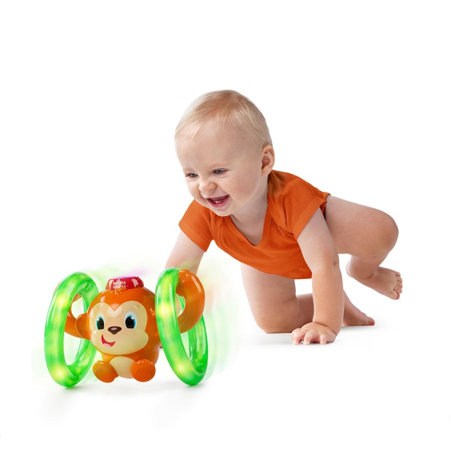 Bright Starts Lights Baby Roll & Glow Monkey image-0