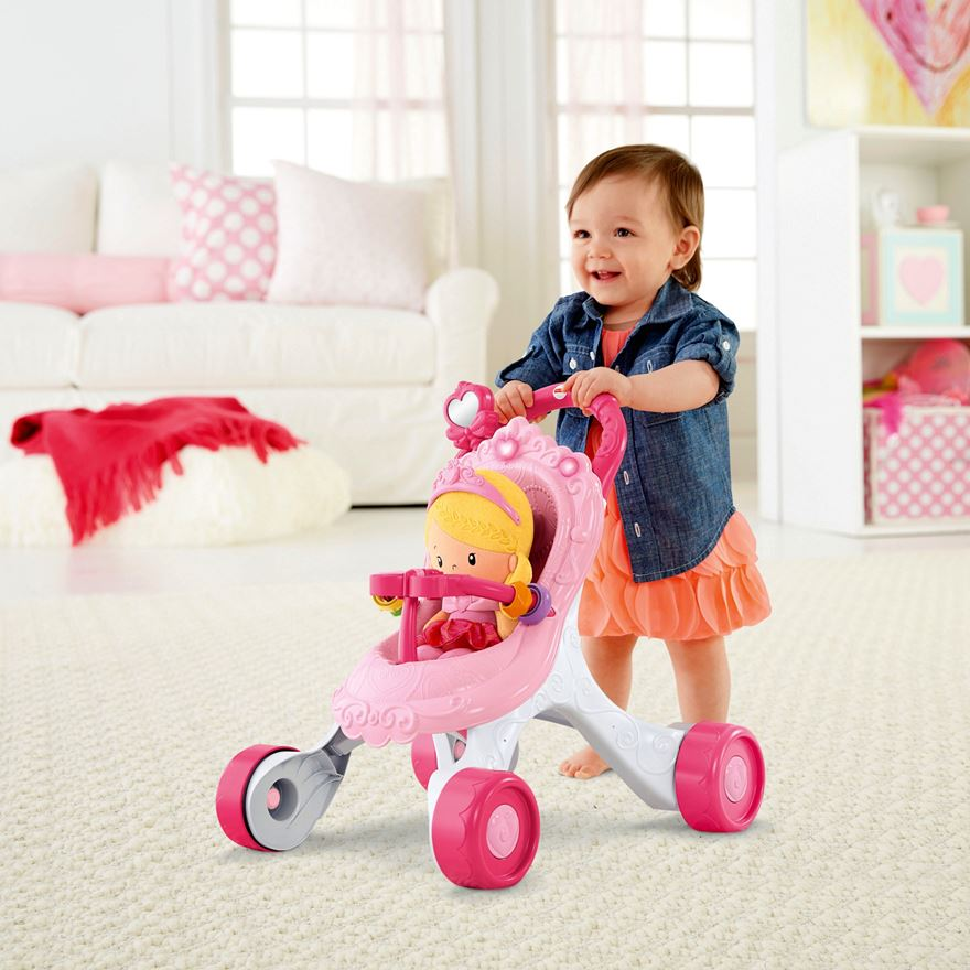 Fisher-Price Princess Stroll-Along Musical Walker and Doll Gift Set image-0