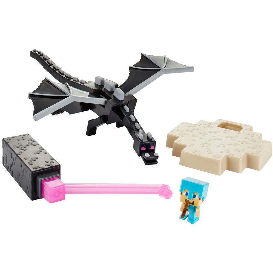 Minecraft The End Ender Dragon vs. Steve Figures image-0