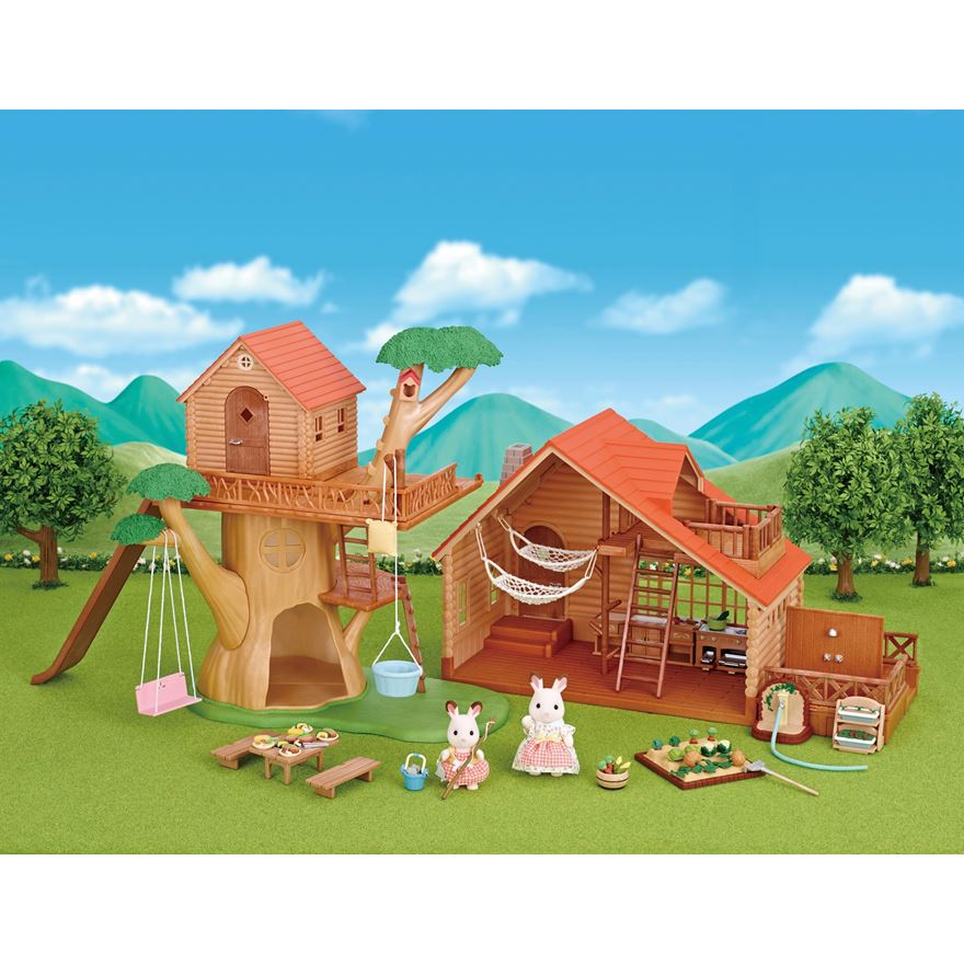 Sylvanian Families Treehouse & Log Cabin Gift Set image-0