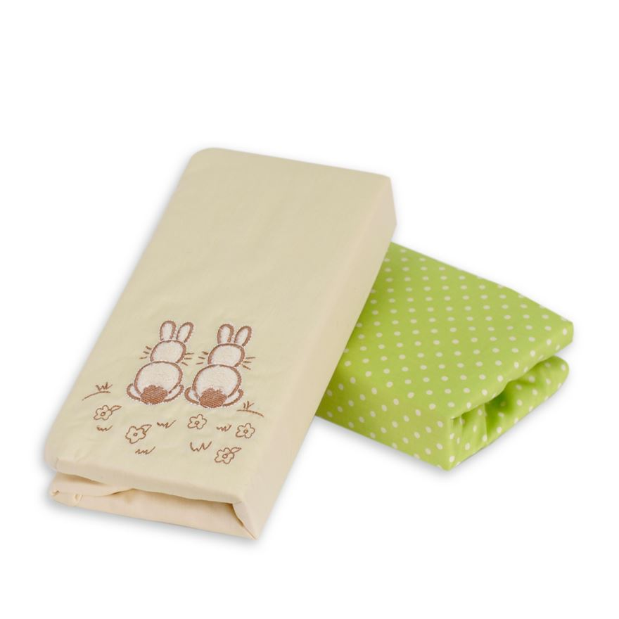 toTs by smarTrike Joy Sateen Green Rabbits Fitted Sheets - 2 Pack image-0