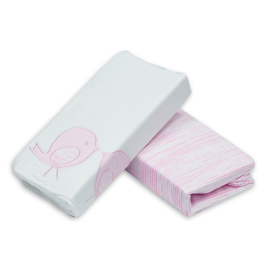 toTs by smarTrike Classic Jersey Pink Bird Fitted Sheets - 2 Pack image-0