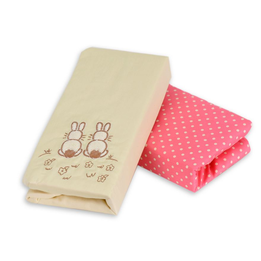 toTs by smarTrike Joy Sateen Pink Rabbits Fitted Sheets - 2 Pack image-0