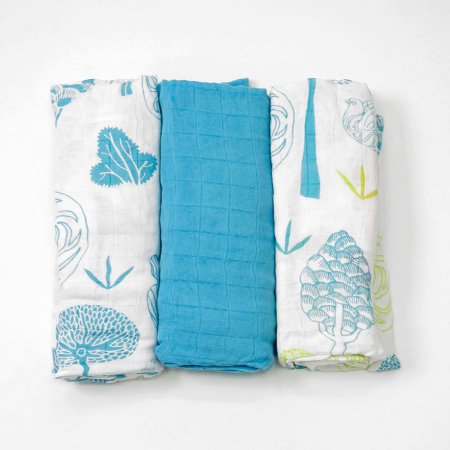 toTs by smarTrike Bamboo Swaddle Wraps 3 Pack - Blue image-0