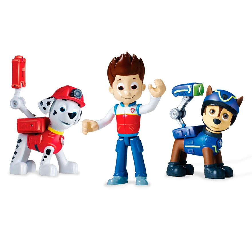 Paw Patrol Action Pack Ryder, Chase and Marshall Pup Set image-0
