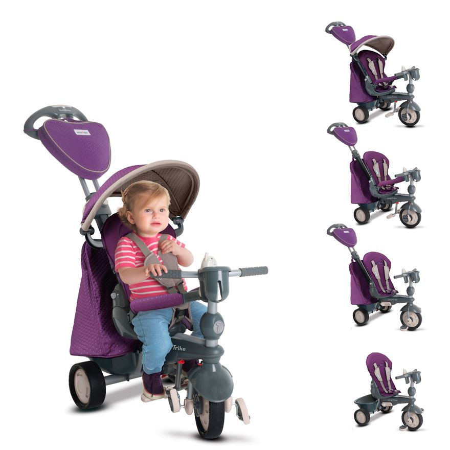 SmarTrike's 5 in 1 Recliner Infinity Purple Tricycle image-0
