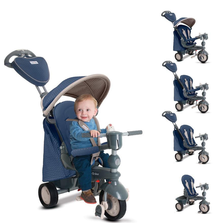 SmarTrike's 5 in 1 Recliner Infinity Blue Tricycle image-0