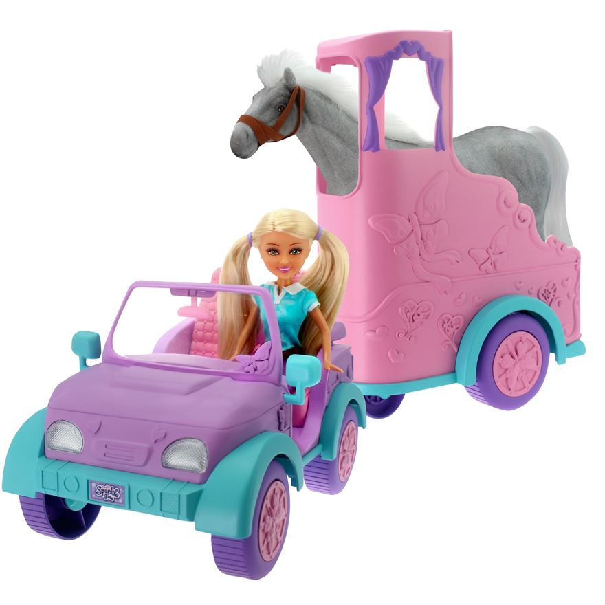 Sparkle Girlz Jeep with Horse Trailer image-0