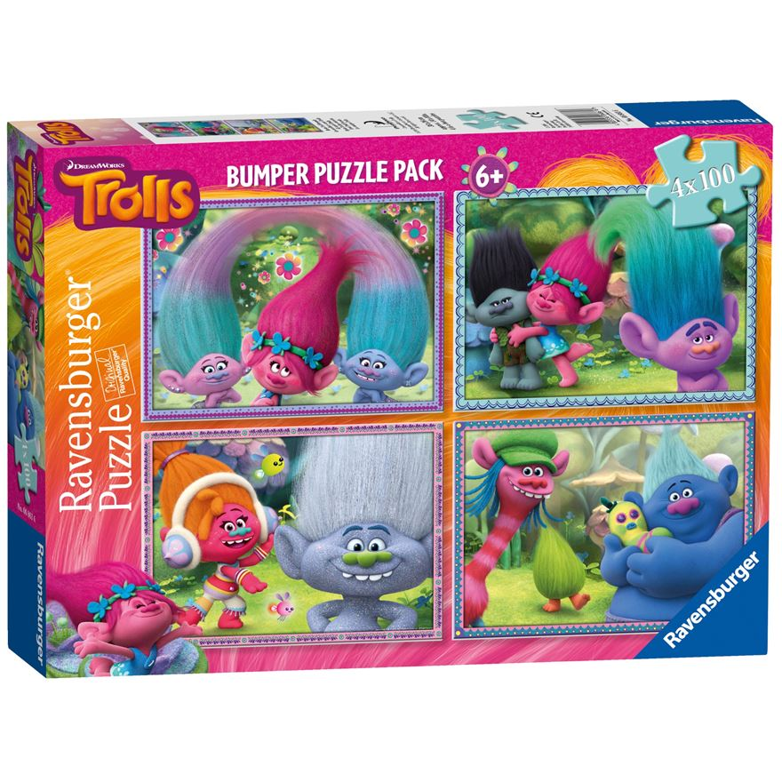 Ravensburger Trolls 4x 100pc Jigsaw Puzzle Bumper Pack image-0