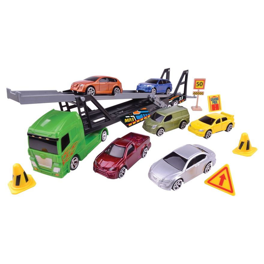 Car Transporter with 6 cars and accessories image-0