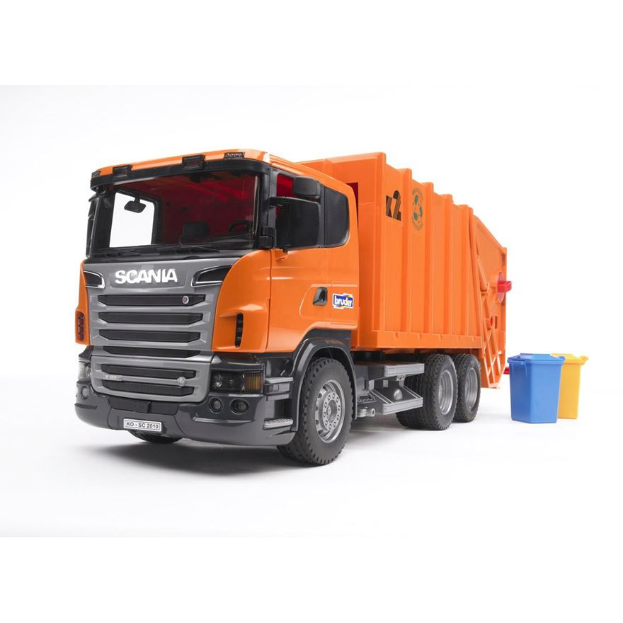 Bruder SCANIA R-Series Orange Garbage Truck image-0