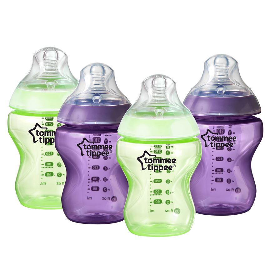 Tommee Tippee Closer to Nature 260ml Colour My World Feeding Bottles – Green & Purple (4-pack) image-0