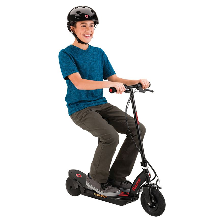 Razor Power Core E100 Electric Scooter with Seat–Red image-0