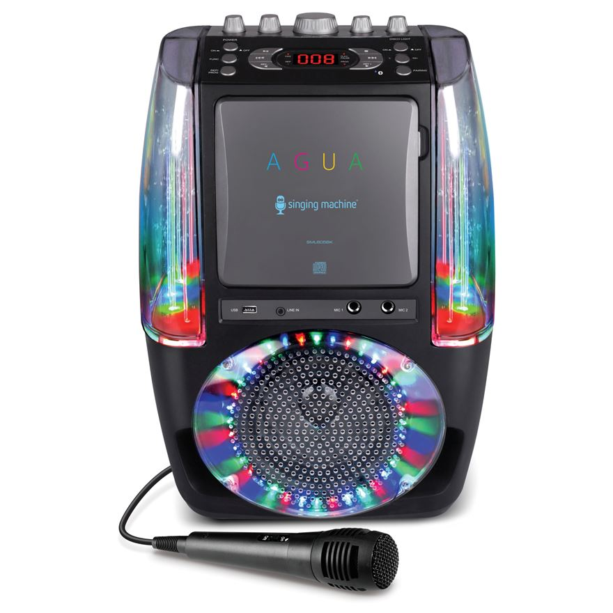 Singing Machine AGUA Dancing Water Fountain Karaoke System with LED Disco Lights and Wired Mic image-0