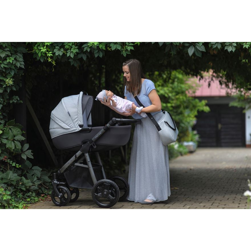 Mini Uno Stride Pram Package Grey Melange image-0