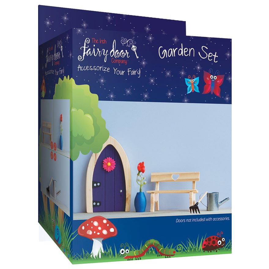 Irish Fairy Door 4-Piece Garden Accessory Set image-0