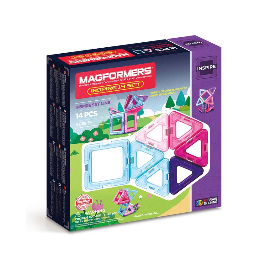 Magformers 14 piece Construction Set Inspire Pink image-0