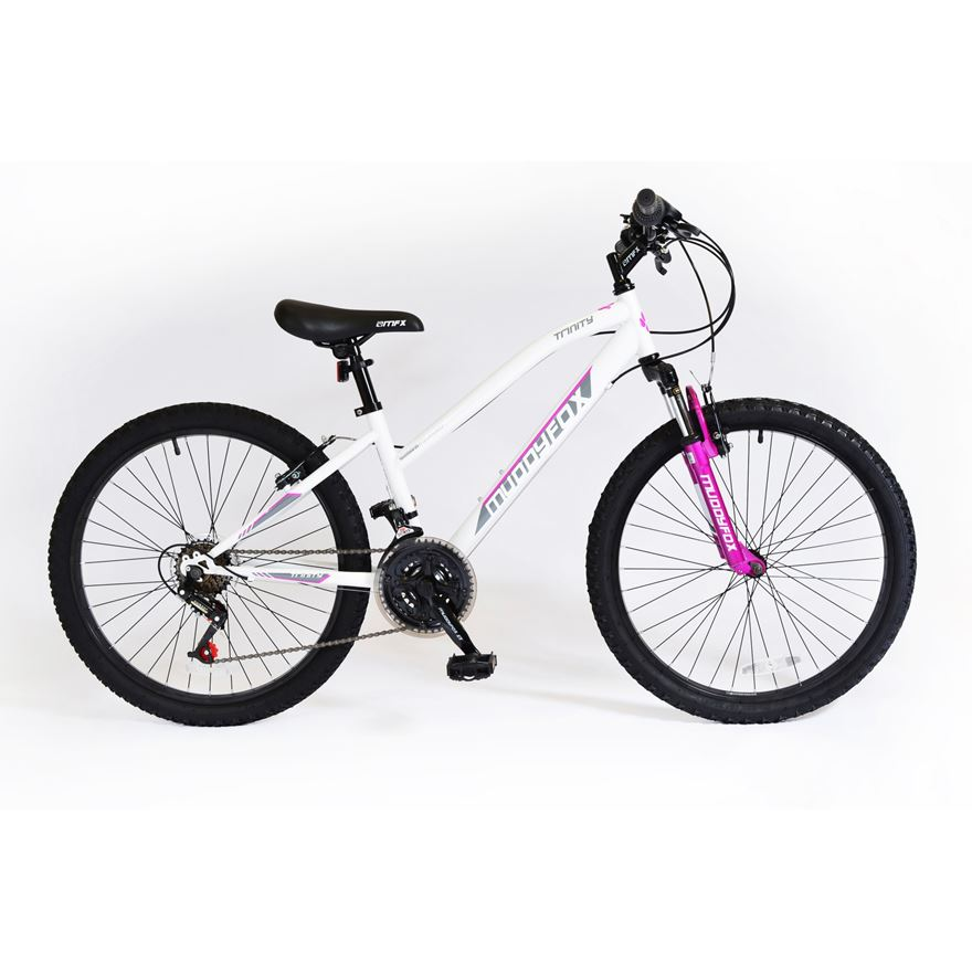 24 Inch Muddyfox Ice white and Cerise Prevail Hardtail Bike image-0