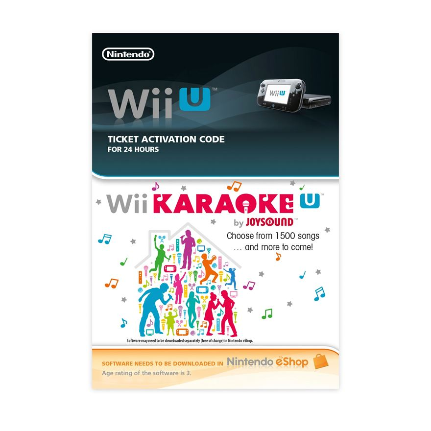 Wii Karaoke U 24hr Pass Wii U DOWNLOAD CARD