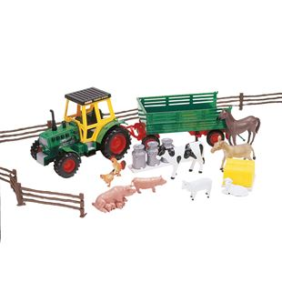 Farm Tractor & Trailer With Animals